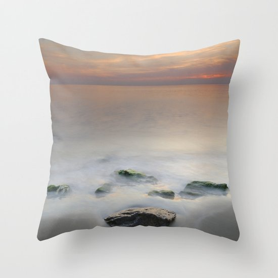 Calm red sunset at the beach Throw Pillow