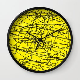Yellow with black scribbling lines, less is more Wall Clock