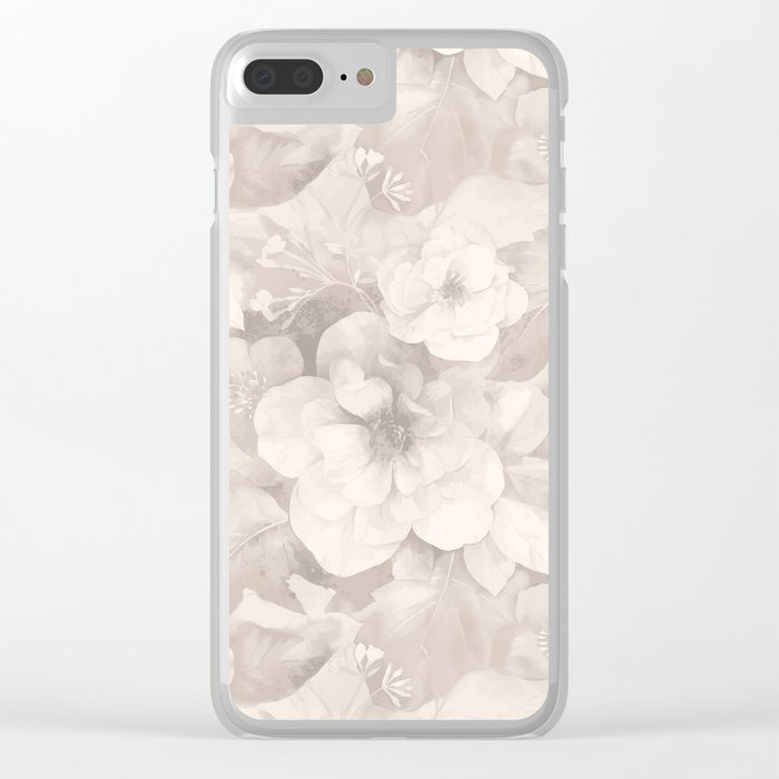Vintage Flowers Clear iPhone Case