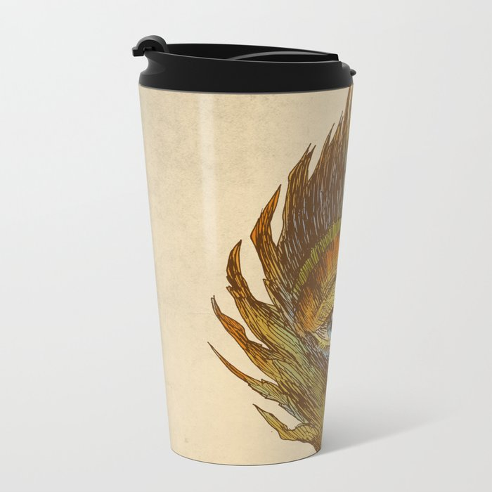 peacock feather-eye Metal Travel Mug