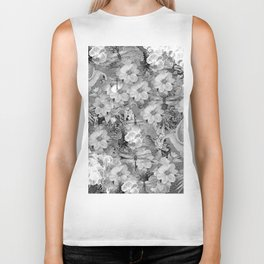 PARROTS MAGNOLIAS ROSES AND HYDRANGEAS TOILE PATTERN IN GRAY AND WHITE Biker Tank