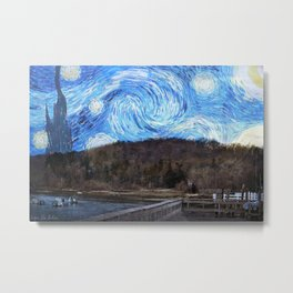 Starry Night at Cold Spring Harbor Metal Print