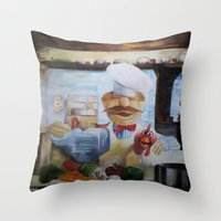 chef Throw Pillows featuring THE CHEF by MELANIE GERVAIS ART