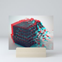 Abstract 3D Cube Bursting Shattering Ultra HD Mini Art Print