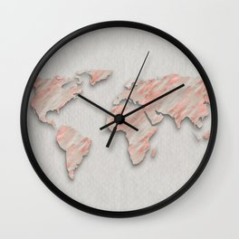 Rose Gold Marble World Map on paper Wall Clock