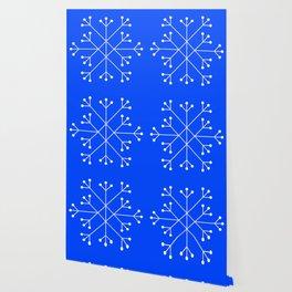 Mod Snowflake Blue Wallpaper