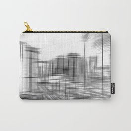 pencil drawing buildings in the city in black and white Carry-All Pouch