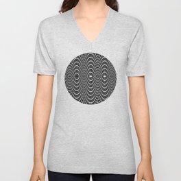 Black and white curvilinear design Unisex V-Neck