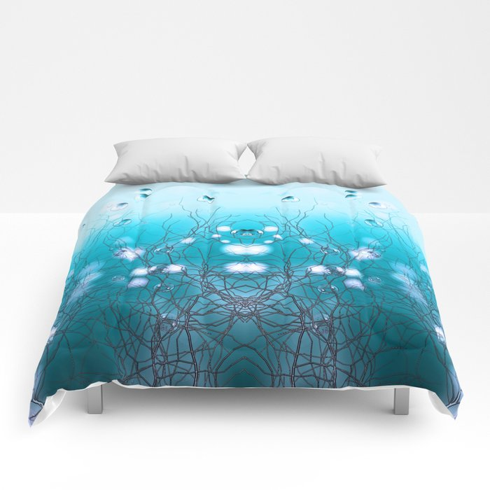 Bubble Tree (blue) Comforters