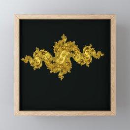 golden dragon on black Framed Mini Art Print