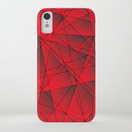 Geometric web of red lines with cross triangular highlights. iPhone Case