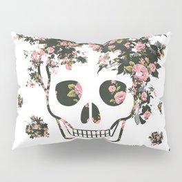 Flower Skull, Floral Skull, Pink Flowers on Human Skull Pillow Sham