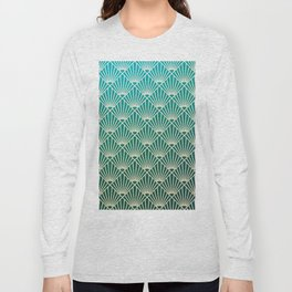 Teal golden Art Deco pattern Long Sleeve T-shirt