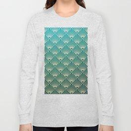 Teal golden Art Deco pattern Long Sleeve T-shirt