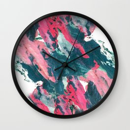 Sweet Tooth - a pretty abstract acrylic piece in pinks, blue, and green Wall Clock