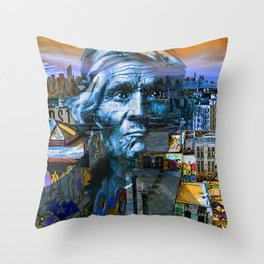 Ghost Tribe Native Americans in New York Blue Throw Pillow