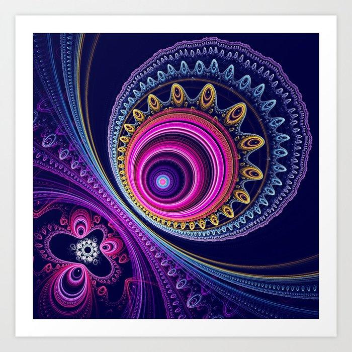 Colourful circles and patterns Art Print