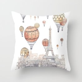 Voyages Over Paris ~ Refresh Throw Pillow