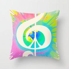 Tie Dye Music & Peace Throw Pillow