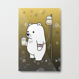 Bubble Tea Bear Metal Print