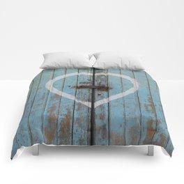 Rustic Blue Heart Comforters