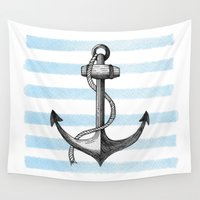 anchor Wall Tapestries featuring Anchor by Sara Elan Donati