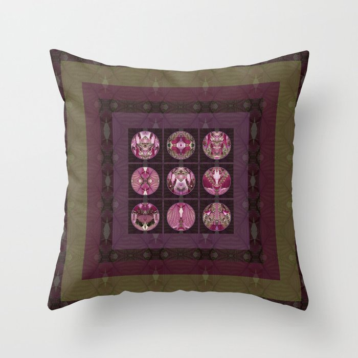 Red Shiso Positive Messages Quilt Art Throw Pillow