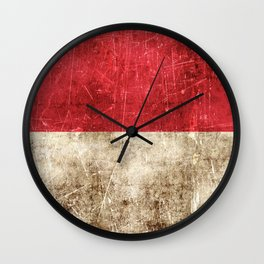 Vintage Aged and Scratched Indonesian Flag Wall Clock
