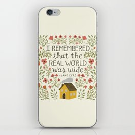 """Jane Eyre """"World Was Wide"""" Quote iPhone Skin"""