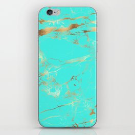 Turquoise Texture + Gold Veins iPhone Skin