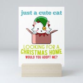 Christmas cat Wishlist Mini Art Print