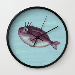 Funny Fish With Fancy Eyelashes Wall Clock
