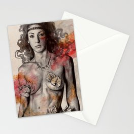Colony Collapse Disorder (topless warrior woman with leaves on nude breasts) Stationery Cards