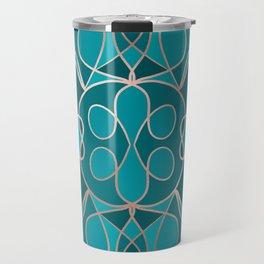 Modern Artsy Ocean Blue Rose Gold Geometric Travel Mug