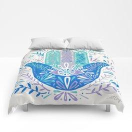Hamsa Hand – Blue & Turquoise Palette Comforters