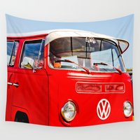 volkswagen Wall Tapestries featuring 1968 Volkswagen Bus by Eye Shutter AUTO