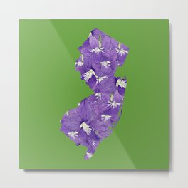 New Jersey in Flowers Metal Print