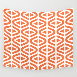 Mid Century Modern Split Triangle Pattern Orange Wall Tapestry