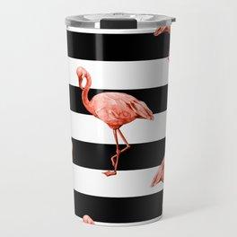 Simply Flamingo Deep Coral on Midnight Black Stripes Travel Mug