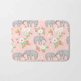 Elephants pattern blush pink pastel with florals cute nursery baby animals lucky gifts Bath Mat