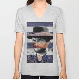 Van Gogh's Self Portrait & Clint Eastwood Unisex V-Neck