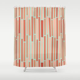 Pink Rows in Mint Shower Curtain