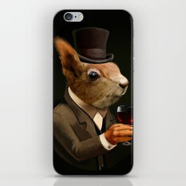 Sophisticated Pet -- Sqirrel in Top Hat with glass of wine iPhone Skin