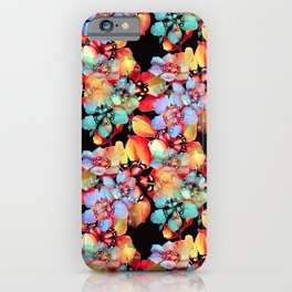 Harlequin Gardening Flowers Watercolor  iPhone Case
