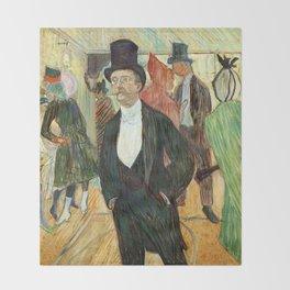 """Henri de Toulouse-Lautrec """"Monsieur Henri Fourcade au Bal de l'Opéra"""" Throw Blanket"""