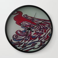 steelers Wall Clocks featuring Royal Blue and Red Abstract Peacock Painting by Melissa's Art