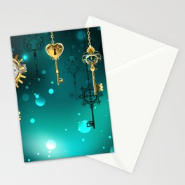 Antique Keys on Green Background ( Steampunk ) Stationery Cards