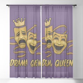 Drama Queen Comedy And Tragedy Gold Theater Masks Sheer Curtain