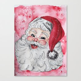 Vintage Santa Face Christmas Watercolor Canvas Print
