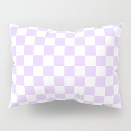 Large Chalky Pale Lilac Pastel Color and White Checkerboard Pillow Sham